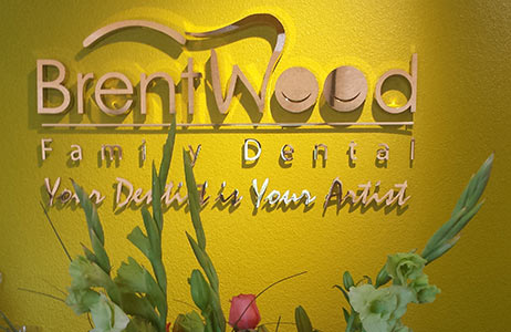 Dentist Brentwood Brentwood Logo on wall